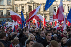 Cracow, Main Square -  The demonstration of the Committee of  Defence of Democracy against the break of law through the government Royalty Free Stock Images