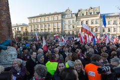 Cracow, Main Square -  The demonstration of the Committee of  Defence of Democracy against the break of law through the government Royalty Free Stock Photo