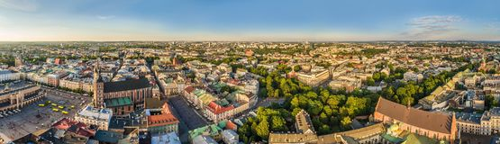 Cracow - aerial panorama. Old town with air from St. Mary`s Basilica and Little Market. Stock Photo