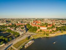 Krakow from the bird`s eye view. Vistula River Quay and Town Landscape with Wawel Castle. Stock Photos