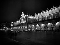 Cracow by night. Artistic look in black and white. Stock Photography