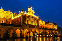 Cracow in night. Sukiennice in night. Cracow. Poland Royalty Free Stock Photography