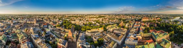 Cracow - panorama of the old town from the air. Attractions and monuments of Cracow, from the Cloth Hall to the Wawel Castle. Cracow monuments: Old Market stock image