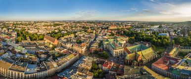 Cracow - panorama of the old town from the bird`s eye view. A view of Grodzka Street and the Basilica of the Franciscans. Royalty Free Stock Photography