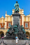 Cracow-Poland- Adam Mickiewicz monument Royalty Free Stock Photo