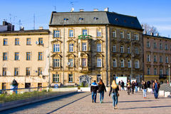 CRACOW, POLAND - APRIL 25, 2016:: People walking near Wawel in Cracow, Poland Stock Photos
