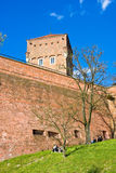CRACOW, POLAND - APRIL 25, 2016:: People walking at territory of Wawel Castle Stock Image