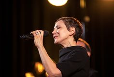 The American jazz vocalist Stacey Kent with her accompanying quartet. Cracow, Poland - April 26, 2018: The performance of the American jazz vocalist Stacey Kent Stock Photography
