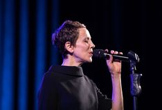 The American jazz vocalist Stacey Kent with her accompanying quartet. Cracow, Poland - April 26, 2018: The performance of the American jazz vocalist Stacey Kent Royalty Free Stock Photos