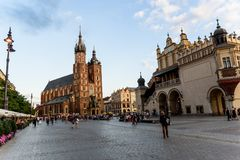 Cracow in Poland,city square historical architecture.Tourist spot royalty free stock photos
