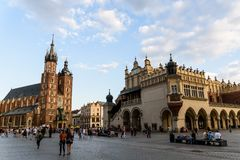 Cracow in Poland,city square historical architecture.Tourist spot royalty free stock photo