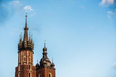 Cracow in Poland,city square historical architecture.Tourist spot stock image