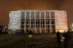 Mapping on the facade of the National Museum inspired by the painting of Stanislaw Wyspianski. Krakow, Stock Photos