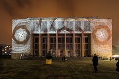 Mapping on the facade of the National Museum inspired by the painting of Stanislaw Wyspianski. Krakow, Stock Images
