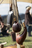 Cracow, Poland. Knight camp during the traditional Medieval festival Stock Photos