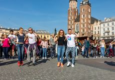 International Flashmob Day of Rueda de Casino. Several hundred persons dance Hispanic rhythms on the Main Square in Cracow. royalty free stock photos