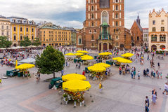 Cracow, Poland-Main Market-flower stalls Stock Photos