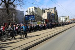 Anniversary of the Krakow Ghetto Liquidation - Remembrance March. Cracow. Cracow, Poland - March 11, 2018: The 75th Anniversary of the Krakow Ghetto Liquidation Stock Photo