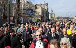 Anniversary of the Krakow Ghetto Liquidation - Remembrance March. Cracow. Cracow, Poland - March 11, 2018: The 75th Anniversary of the Krakow Ghetto Liquidation Royalty Free Stock Image