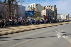 Anniversary of the Krakow Ghetto Liquidation - Remembrance March. Cracow, Poland - March 11, 2018: The 75th Anniversary of the Krakow Ghetto Liquidation Royalty Free Stock Images