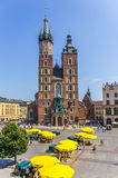 Cracow-Poland-Mariacki Church. Cracow (Krakow)-Poland-Mariacki Church (Saint Mary Basilica) - Main Market Square Stock Photos