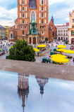 Cracow-Poland-Mariacki Church-mirror image. Cracow (Krakow)-Poland-Mariacki Church (Saint Mary Basilica) -reflected in glass rail Stock Photo