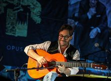 American jazz fusion and Latin jazz guitarist Al Di Meola performing live on the Kijow.Centre. Cracow, Poland - November 2, 2018: American jazz fusion and Latin royalty free stock images