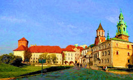 Cracow, Poland. Oil painting Stock Images