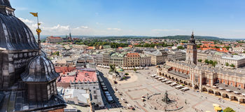 Cracow, Poland panorama. Old town market square and Cloth Hall Stock Photos