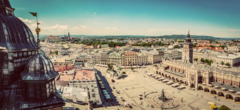 Cracow, Poland panorama. Old town market square and Cloth Hall Royalty Free Stock Photos