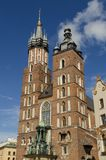 Cracow in Poland. St. Marys Basilica in Cracow stock photo