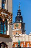 Cracow, Poland- Town Hall Tower, Cloth Hall, secession tenement Royalty Free Stock Images