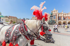 Cracow, Poland. Traditional horse carriage on the main old town market square. Cloth Hall and Mickiewicz Monument behind stock photography