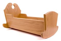 Cradle. An oak cradle I made for my daughter Stock Images