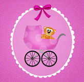 Cradle for baby girl. Funny illustration of birth announcement Royalty Free Stock Photo