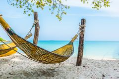 Cradle bamboo on the beach at Samed Island, Thailand.  royalty free stock photo