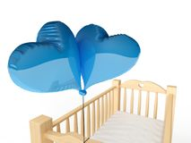 Cradle for boy. 3d rendering of a wooden cradle with blue heart shaped balloons Royalty Free Stock Photography