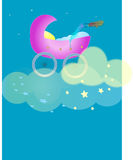 Cradle in the Clouds. Rasterized vector, intended to represent good night sleep, newborn baby, peaceful rest Royalty Free Illustration