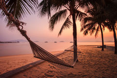 Cradle hanging on coconut tree against beautiful sun rising sky Stock Images