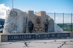 Cradle of history staute by Gibraltar Airport stock image