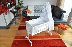 Cradle in the living room. Cradle in the modern living room Stock Photos