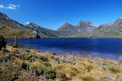 Cradle Mountain. St. Clair National Park in Tasmania stock photography