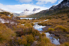 Cradle Mountain. Snow-capped Cradle Mountain in Western Tasmania, Australia Stock Images