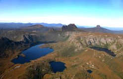 Cradle mountain. National park, tasmania, australia from helicopter Royalty Free Stock Photos
