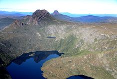 Cradle mountain. National park, tasmania, australia from helicopter Stock Image