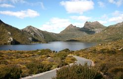 Cradle Mountain. Road leading through Cradle Mountain National Park, Tasmania, Australia Stock Photo