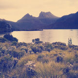 Cradle Mountain Australia Instagram Style. The iconic image of Tasmania, Cradle Mountain sits majestic atop the the jewel that is Dove Lake bathed in glowing Royalty Free Stock Photo