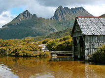 Cradle Mountain Boathouse. Historic Boathouse by Dove Lake in Cradle Mountain National Park, Tasmania, Australia Stock Photos