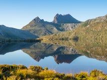 Cradle Mountain and Dove Lake. In the Cradle Mountain - Lake St Clair National Park in Tasmania, Australia stock photos