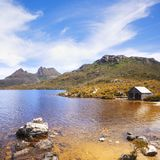 Cradle Mountain and Dove Lake Tasmania Australia. Cradle Mountain and Dove Lake, Tasmania, Australia, on a beautiful summer day royalty free stock photos